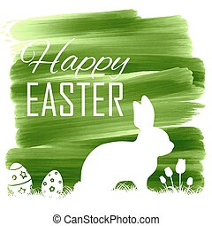 Bunny with egg in easter card