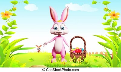 Bunny with eggs basket - Pink bunny is saying hi with eggs...
