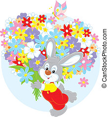 Bunny with flowers - Little rabbit with a big bouquet of...