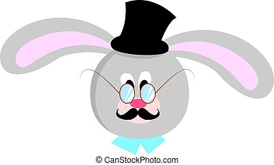 Bunny with hat, illustration, vector on white background.