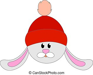 Bunny with red hat, illustration, vector on white background.