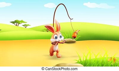 Bunny with running - Brown bunny is running towards a carrot
