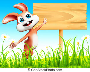 Bunny with sign - Brown bunny jumping with sign