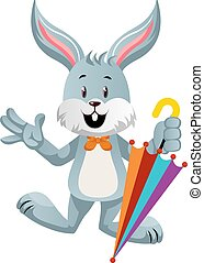 Bunny with umbrella, illustration, vector on white background.
