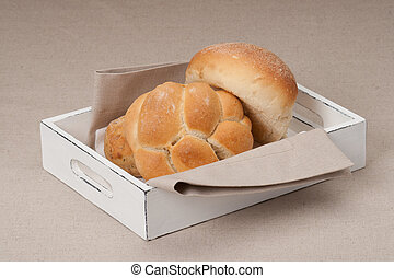 Buns On Tray With Napkin, Natural Linen Background