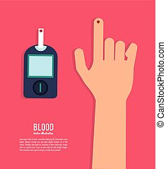 bunte, abbildung, gesundheit, blut, icon., sorgfalt, design.