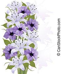 bunte, abbildung, hintergrund, sommer, vektor, flowers., ...