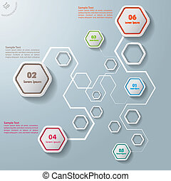 bunte, abstrakt, sechsecke, anschlüsse, infographic, 6, ...