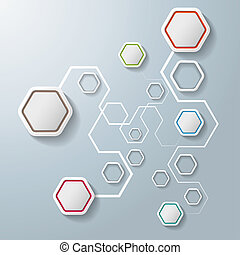 bunte, abstrakt, sechsecke, anschlüsse, infographic, 6,...