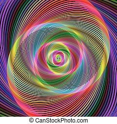 bunte, abstrakt, spiralförmiges design, hintergrund, fractal