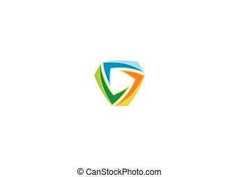 bunte, abstrakt, vektor, logo, kreis, technologie