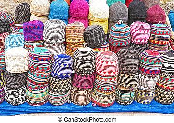 bunte, afrikas, verkauf, kappen, marokko, wolle, markt