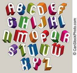 bunte, alphabet, briefe, dimensional, vektor, schriftart,...