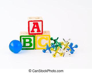bunte, alphabetblöcke, abc, und, buchsen, als, a, childrens,...