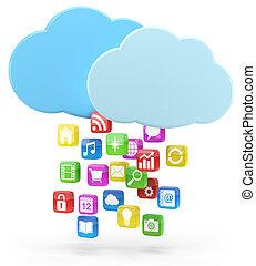 bunte, app, heiligenbilder, und, wolke