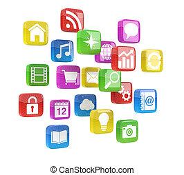 bunte, app, heiligenbilder