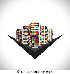 bunte, architektonisch, grafik, von, a, stadtzentrum, gebäude, &, straße, -, vector., dieser, abbildung, von, ein, abstrakt, modern, gewerblich, struktur, gleichfalls, in, farben, mögen, rotes , orange, schwarz, blaues, usw