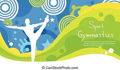 bunte, athlet, konkurrenz, geräteturnen, sport, banner