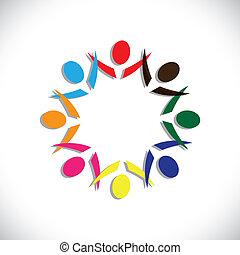 bunte, begriffe, gemeinschaft, spielende , freundschaft, angestellter, leute, party, spaß, shows, vektor, &, gewerkschaften, andersartigkeit, teilen, icons(symbols)., kinder, arbeiter, abbildung, graphic-, mögen, mögen, begriff, usw