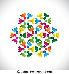 bunte, begriffe, gemeinschaft, spielende , freundschaft, angestellter, leute, shows, vektor, &, gewerkschaften, andersartigkeit, mannschaften, icons(signs)., teilen, kinder, arbeiter, abstrakt, abbildung, graphic-, mögen, begriff, usw