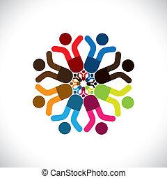 bunte, begriffe, gemeinschaft, spielende , freundschaft, angestellter, shows, vektor, kinder, &, gewerkschaften, feiern, andersartigkeit, icons(signs)., teilen, kinder, arbeiter, abstrakt, abbildung, graphic-, mögen, begriff, usw