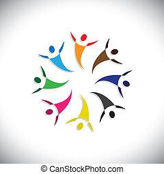 bunte, begriffe, gemeinschaft, spielende , glücklich, freundschaft, angestellter, leute, freudig, shows, vektor, &, gewerkschaften, andersartigkeit, teilen, icons(symbols)., kinder, arbeiter, abbildung, graphic-, mögen, begriff, usw