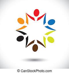 bunte, begriffe, gemeinschaft, spielende , glücklich, freundschaft, angestellter, leute, party, shows, vektor, &, gewerkschaften, andersartigkeit, teilen, icons(symbols)., kinder, arbeiter, abbildung, graphic-, mögen, begriff, usw