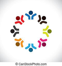 bunte, begriffe, gemeinschaft, spielende , glücklich, freundschaft, angestellter, leute, vektor, &, gewerkschaften, andersartigkeit, vertritt, teilen, icons(signs)., kinder, arbeiter, abstrakt, abbildung, graphic-, mögen, begriff, usw