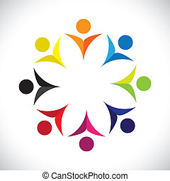 bunte, begriffe, gemeinschaft, spielende , glücklich, freundschaft, angestellter, vektor, kinder, &, gewerkschaften, andersartigkeit, vertritt, teilen, icons(signs)., kinder, arbeiter, abstrakt, abbildung, graphic-, mögen, begriff, usw