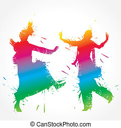 bunte, bhangra, und, gidda, tänzer