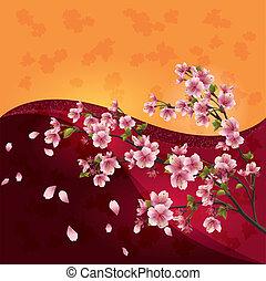 bunte, blüte, kirschen, -, japanisches , baum, hintergrund, hell, vektor, sakura