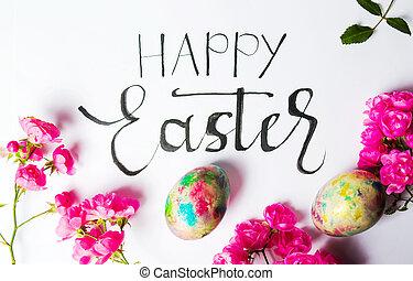 bunte, eier, handgeschrieben, ostern, karte, glücklich