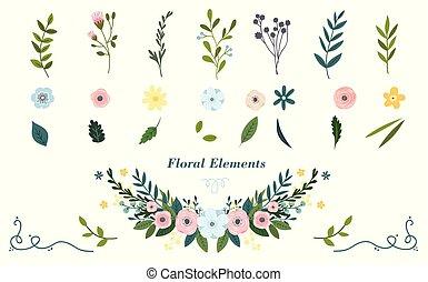 bunte, elements., hand, vektor, blumen-, gezeichnet, illustration.