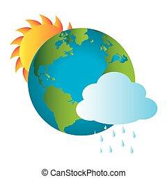 bunte, erde, weltkarte, mit, regnerisch, wolke, und, sonne