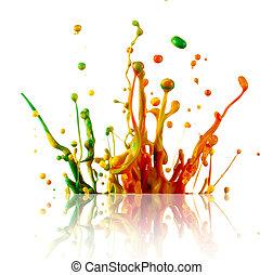 bunte, farbe, spritzen