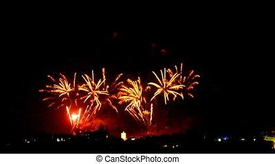 bunte, feuerwerk, an, feiertag, nacht, hintergrund