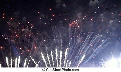 bunte, feuerwerk, an, feiertag, nacht