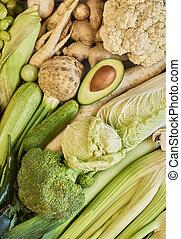 bunte, früchte gemüse, hintergrund., regenbogen, sammlung