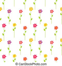 bunte, frühjahrsblumen, pattern.