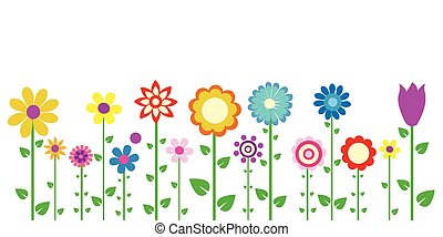 bunte, frühjahrsblumen, vektor