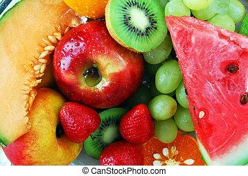 bunte, frisch, gruppe, von, früchte