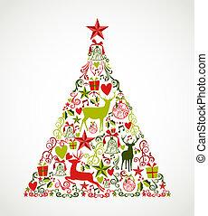 bunte, frohe weihnacht, baum, form, mit, rentiere, und,...