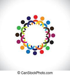 bunte, gemeinschaft, begriffe, spielende , freundschaft, angestellter, leute, sozial, shows, vektor, &, gewerkschaften, andersartigkeit, teilen, icons(symbols)., kinder, arbeiter, abbildung, graphic-, mögen, begriff, usw