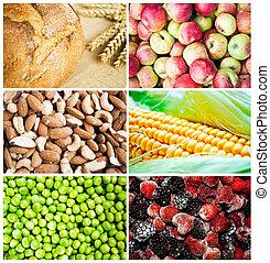 bunte, gesundes essen, collage