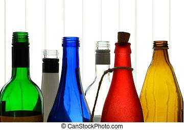 bunte, glasflaschen