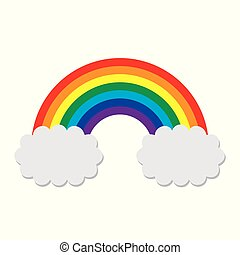 bunte, graue , vektor, regenbogen, wolkenhimmel, symbol