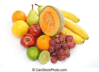 bunte, gruppe, von, frische früchte