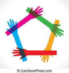 bunte, hand, beitreten, &, machen, pentagon
