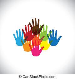 bunte, hand(palm), icons(signs), von, kinder, together-, vektor, graphic., dieser, abbildung, begriff, von, play-school, mit, glücklich, bunte, kinder, und, kleinkinder, spielen zusammen, &, spaß haben