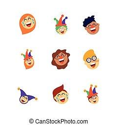 bunte, heiligenbilder, lachender, satz, fools, leute, design, stil, tag, wohnung, karikatur